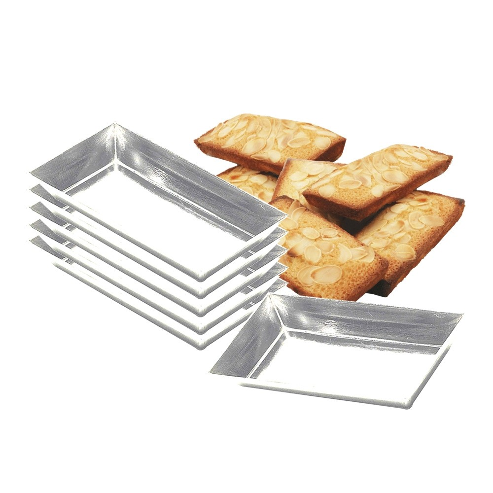 Lot de 6 moules à friand ou financier Fer Blanc 9 cm