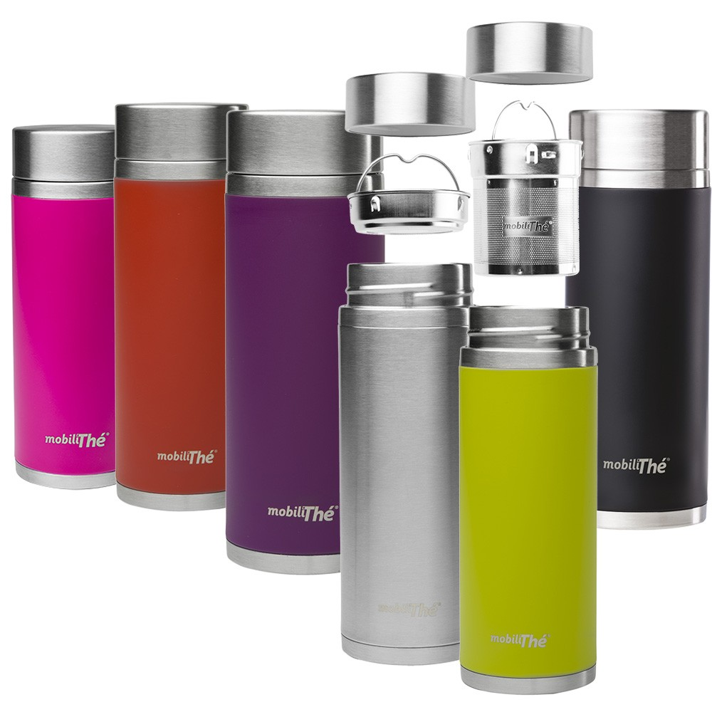 Théière nomade isotherme inox MobiliThé 300 ml Qwetch vinetcuisine